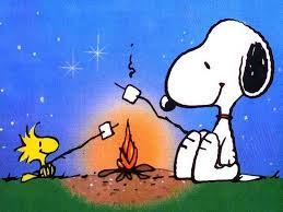 Snoopy and birdy by campfire